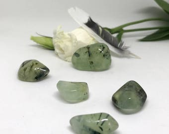 Tumbled Prehnite with Epidote - The Stone of Unconditional Love and Healing
