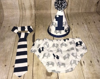 Boys Cake Smash Outfit - Elephant Birthday Outfit - Navy and Gray  - Diaper Cover, Standard Tie & Birthday Hat - Navy and Grey