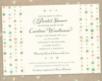 Subtle Polka Dot Columns Bridal Wedding Shower Invitation; Printable, Evite or Printed (US Only) Invitations