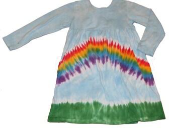 Rainbow Dress, Girls Rainbow Dress, Girls Tie Dye Rainbow Dress