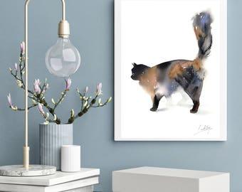 Minimalist Cat Original Watercolor Painting, cat painting, cat art, minimalist painting art, watercolour painting of cat