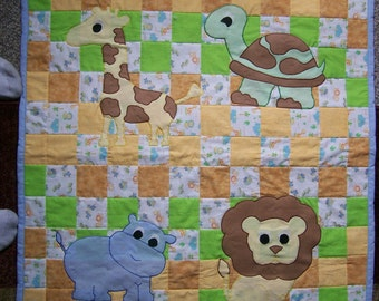 Handmade 31x38 jungle animals baby blanket