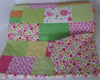 Birds and Flowers Flannel Baby Girl Quilt, Pink Green Yellow, Modern Baby Quilt, Nursery Quilt, Crib Quilt, Baby Shower Gift, Baby Blanket