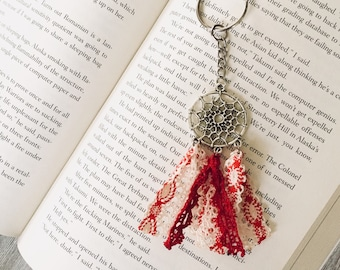 Dreamcatcher Keychain , Lace Dream Catcher , Key Accessories, Silver Red White , Bohemian Gifts