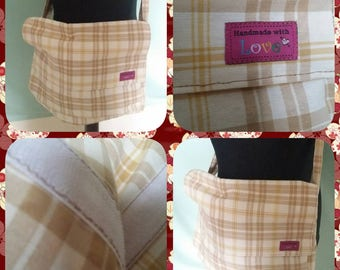 Handmade pale brown tartan/check messenger bag