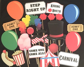Carnival Themed Party Photo Booth Props