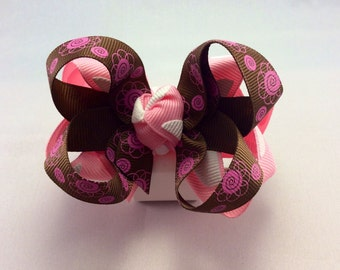 Pink/Brown Hair Bow
