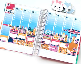 Travel the World: London Planner Stickers Weekly Kit (CREATE A SCENE!) - For use with Erin Condren Vertical Lifeplanner