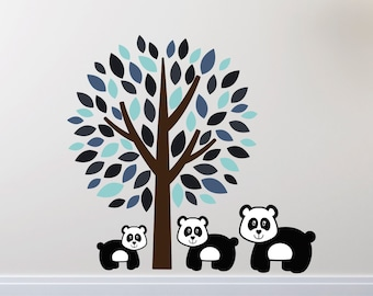 Blue Tree With Pandas Wall Stickers, Tree Wall Decals, Animal Wall Art, Panda Wall Transfer - Full Colour Wall Stickers - FP040