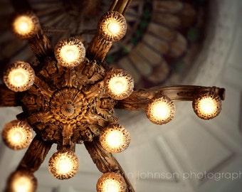 chandelier photography, living room art, elegant bedroom art, gold home decor, chandelier wall art, industrial decor, alabama courthouse