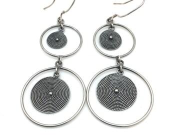 Silver Drop Circle Earrings