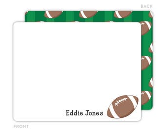 Football Note Cards - Personalized Flat Note Cards - Football Notecards - Kids Stationery - Kids Thank You Cards - Sports Stationery
