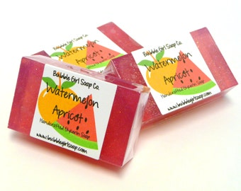 Watermelon Apricot Mini GUEST BAR Handmade Vegan Glycerin Soap
