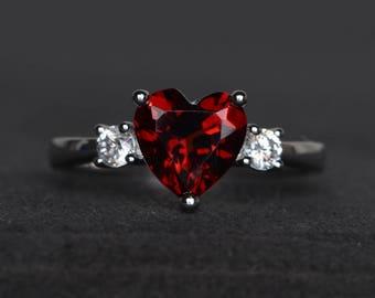 natural red garnet ring promise ring heart cut gemstone January birthstone ring