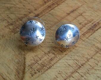 Stamped Stud Earrings, Star Earrings,  Sterling Silver Earrings, Domed Cup Earrings, Stud Earrings, Post Earrings, Studs