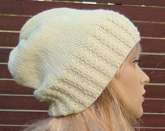 Cream Womans Beanie, Woollen Hat, Slouchy Beanie, Knit Slouch Hat, Mock Cable Hat