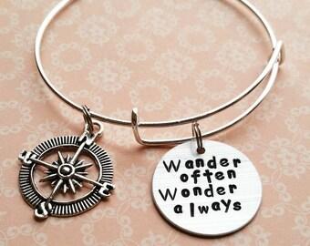 Wander often wonder always bracelet wanderlust jewelry travel gift compass bracelet gifts for grads long distance friendship friend gifts
