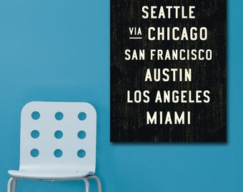 U.S. SUBWAY SIGN Art, Word Art, Subway Art, Unites States Canvas Wall Art, Travel Art Print, Travel Lovers Gift, Industrial Decor, 24x36.