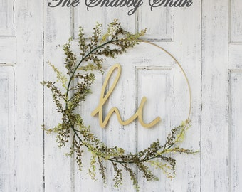 Spring Wreath,Front Door Wreath,Hoop Wreath,Minimalist, Modern Wreath,Wreath With Hi Sign