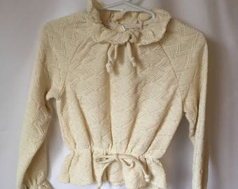 vintage CARTER'S BOHO TOP Cream Textured Girls size 5 1980s