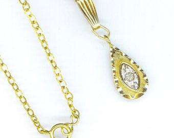 Vintage 14 K Gold filled Pendant . Sparkling Diamond Pendant . Beautiful Diamond . April Birthstone - Morning Star  by enchantedbeas on Etsy