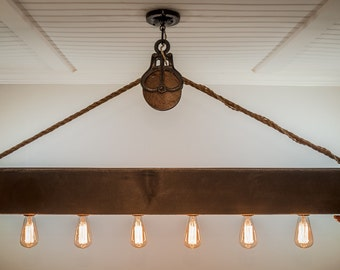 Edison chandelier etsy 5 ft rustic beam edison bulb chandelier with vintage barn pulley aloadofball Image collections