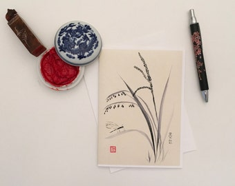 Blank Cards, Pack of 5 with Envelopes, Dragonfly on Rice Plant, Any Occasion, Sumi-e, Chinese Watercolor, Print