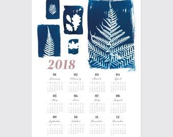 2018 Botanical Wall Calendar, A3 Planner, Poster Calendar