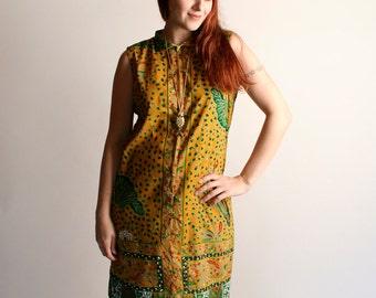 Vintage Ethnic Dress - African Dashiki Style Tunic Dress - Mustard Yellow Print Boho Hippie Dress - Medium