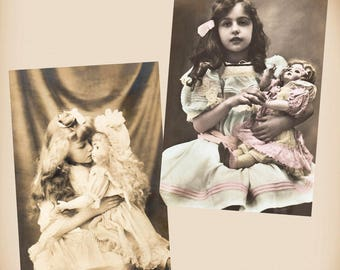 Girl With A Porcelain Doll 2 New 4x6 Vintage Card Image Photo Prints GD20 GD35