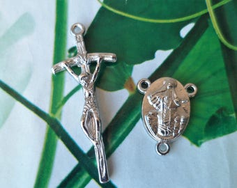 Rosary, cross Rosary Center set Double-sided blank Medugorje silver Metal