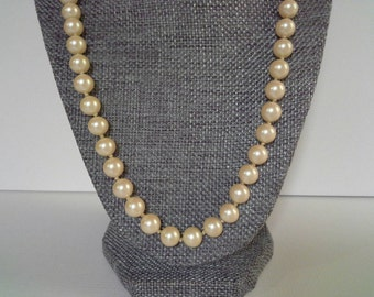 Vintage Single Strand DuBarry Faux Pearl Necklace Sterling Silver Clasp, Du Barry Pearls, Classic Pearls, Wedding Pearls, Bridal Jewelry
