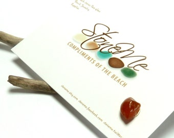 One Stone Ear Stud Natural Beach Gemstone Post Industrial River Rock Jewelry Agate Chip Pebble Earring Surfer APRICOT