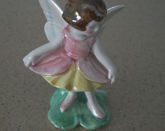 Napcoware Girl Fairy Figurine Made in Japan,pink, yellow, green, Wings, girl fairy, green grass, brown hair, gift for her, Mother's Day