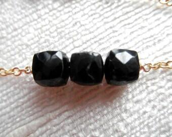 Black bracelet - black spinal cubes - gold bracelet - K A T E 047