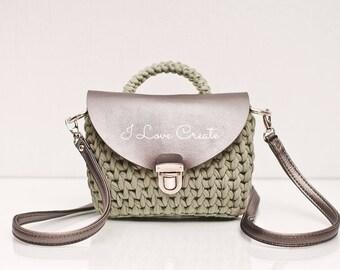 Handbag for women Small cross body bag Olive cotton bag with eco-leather cover Crossbody purse Boho handbag for women