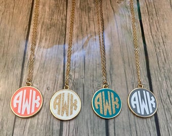Gold Plated Monogram Necklace, Monogrammed Necklace, Monogram Necklace, Initial Necklace, Trendy, Geometric Necklace, Personalized Necklace