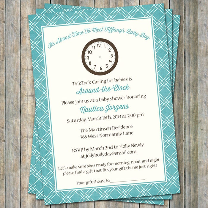around the clock baby shower invitations It\'s time to