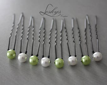 set of 8 bridal hair pins white and lime green beads