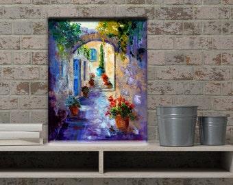 "Impressionist oil painting Provence Village, Hidden Passage, Provence Landscape Knife painting, Modern Impressionist art oil painting 12x16"""
