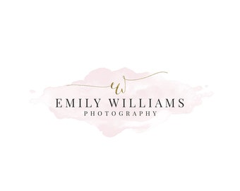 Premade Photography Logo and Watermark Design, Custom Small Business logo, Gold foil and watercolor logo  279