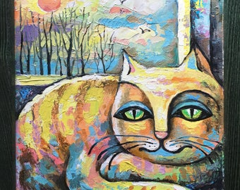 Original oil painting on canvas board.  Cat. Orange cat.8 by 10 inches.