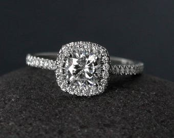 Halo Engagement Ring - Forever Brilliant Moissanite - Half-Eternity Band, Classic Engagement Rings