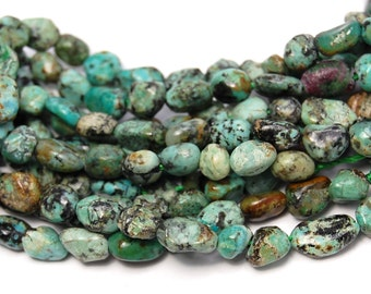 African Turquoise Nuggets Pebbles Jasper beads -15.5
