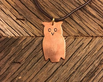 Copper Owl Hand Stamped Necklace