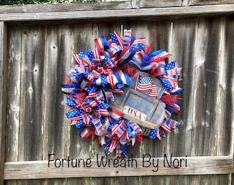 Memorial Day Wreath,4th of July Wreath, Patriotic wreath, Veterans Day wreath, Deco Mesh Wreath, Summer wreath, Front door wreath