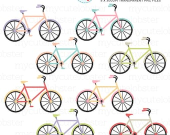 Bicycles Clipart Set - bikes clip art set, colorful bicycles, vintage bicycle, bike - personal use, small commercial use, instant download