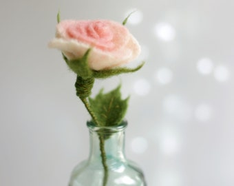 Needle Felted Rose - Needle Felt Flower - Artificial Flower - Blush Pink - Ornament - Home Decor - Wool - Summer Decoration - Gift Idea