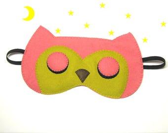 Sleep mask Owl felt pink Pajamas Spa night sleep party favors soft eye sleeping wedding accessory - Gift for girl kids her woman Valentine