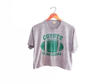 vintage t shirt / tri blend t shirt / crop top t shirt / 1970s heather grey tri blend crop top football t shirt Medium